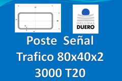 Postes tubo rectangular 80x40x2 L 3.000 mm T20