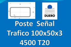 Postes tubo rectangular 100x50x3 L 4.500 mm T20