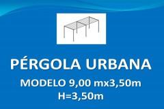 Pérgola urbana Modelo 9x3,50 m H3,50 m