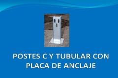 Poste C o tubular con placa de anclaje