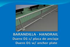 Barandilla DUERO D1 4 m con placa de anclaje