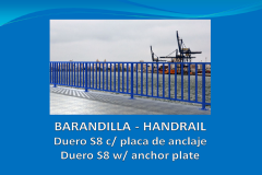 Handrail DUERO S8 6 m with anchor plate