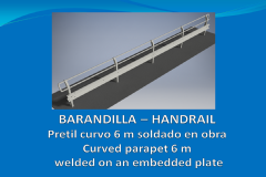 Handrail curved parapet 6 m welded on an embedded plate
